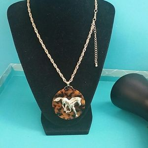 Charming Charlie gold horse w|resin necklace